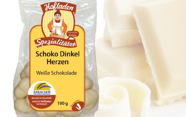 Dinkel Schoko Herzen Weiss 100g